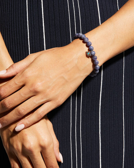 Sydney Evan Tanzanite Bead Bracelet w/ Turquoise Evil Eye