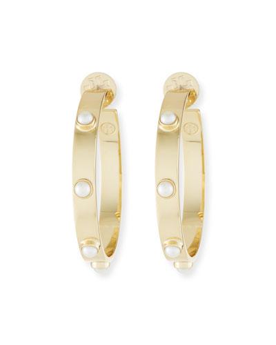 Studded Pearly Hoop Earrings