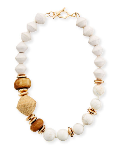 Bone & Raffia Beaded Short Necklace