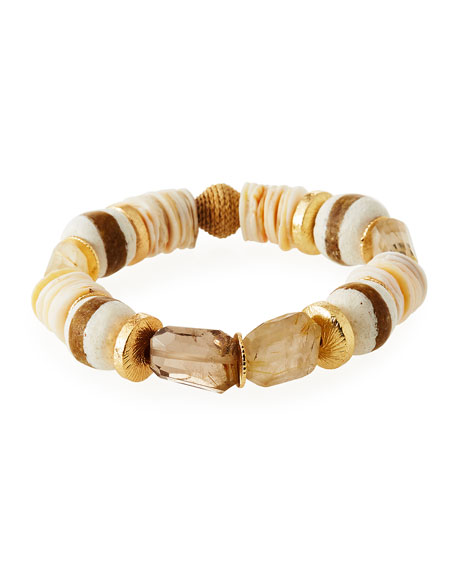 Quartz Striped Glass Bead Bracelet