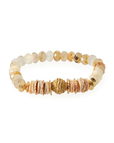Rutilated Quartz & Raffia Mini Bracelet