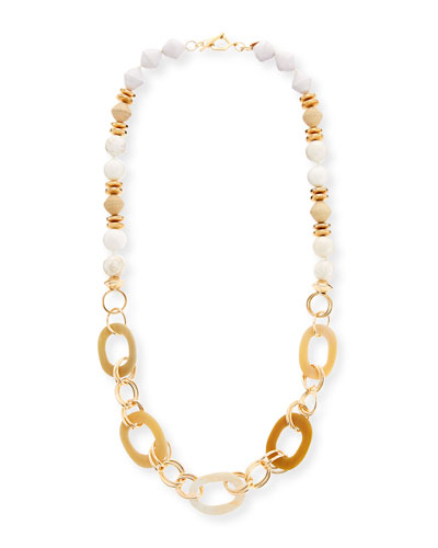 Horn Link & Raffia Chain Necklace