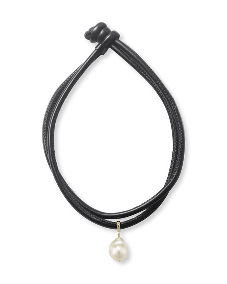 Mizuki Convertible Leather Wrap Bracelet/Choker with Pearl Slider