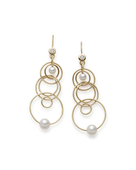 18k Gold  Nova Mini Jet Set Pearl & Diamond Dangle Earrings
