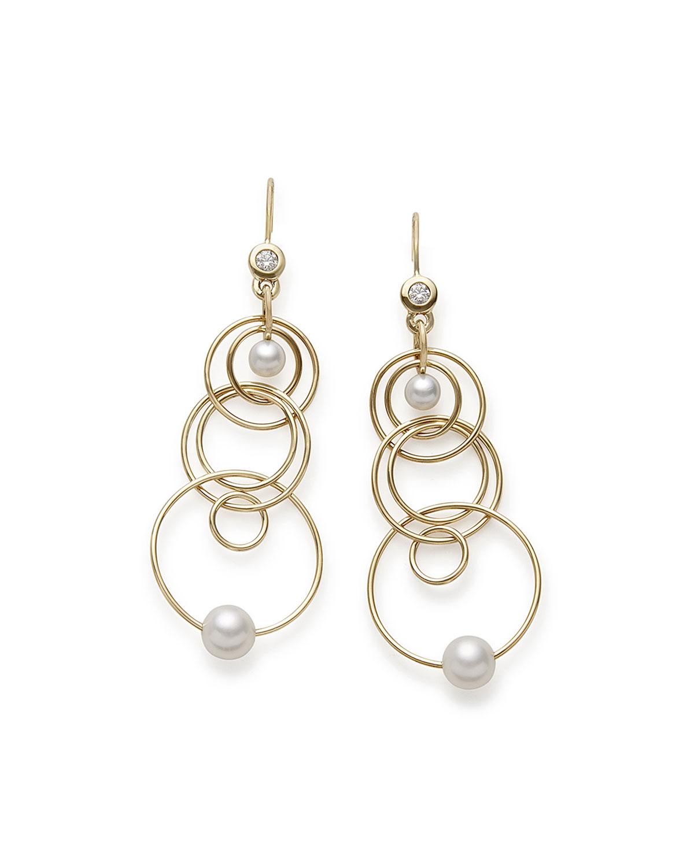 18k Gold Nova Mini Jet Set Pearl Diamond Dangle Earrings