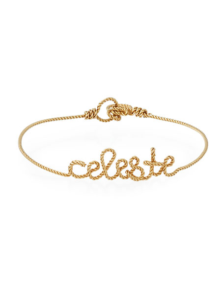 Personalized 5-Letter Twist Wire Bracelet, Yellow Gold Fill
