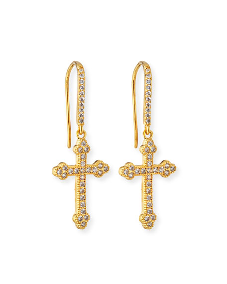 Fallon Micro Crucifix Earrings, Golden