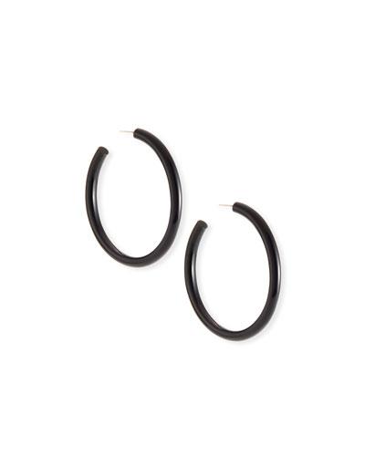 Sleek Black Horn Hoop Earrings
