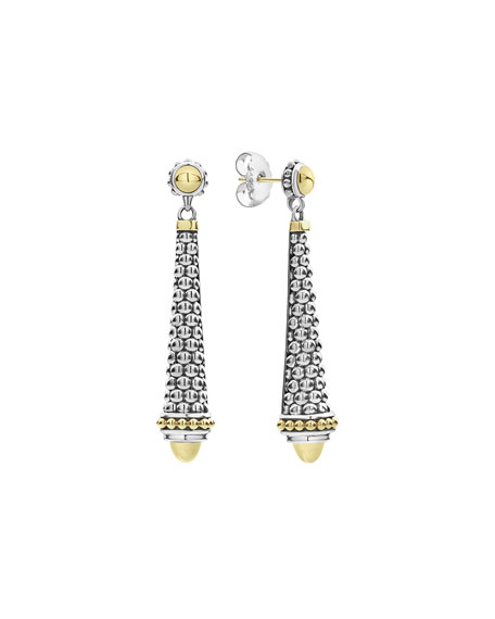 "Silver & 18k Gold Caviar Drop Earrings, 2""L"