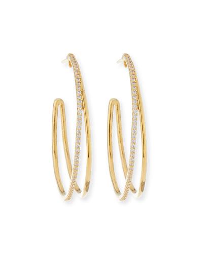 Large Split Hoop Earrings w/ Pave