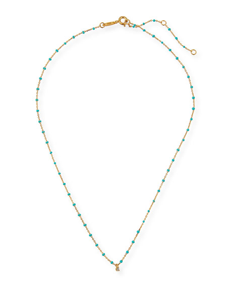 Enamel Necklace w/ Cubic Zirconia & Beads