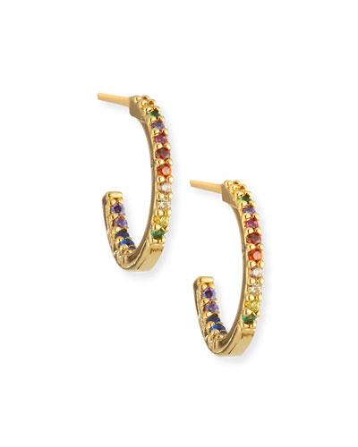 Small Rainbow Huggie Hoop Earrings
