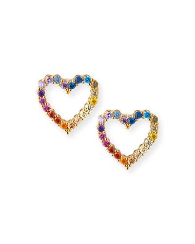 Rainbow Pave Heart Stud Earrings