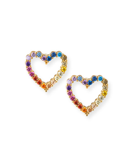 Rainbow Pave Heart Stud Earrings