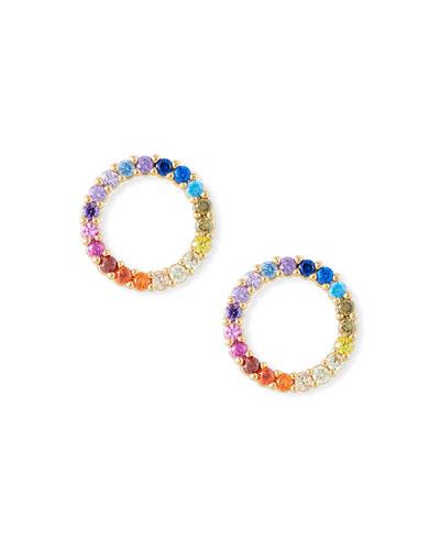 Rainbow Pave Circle Stud Earrings