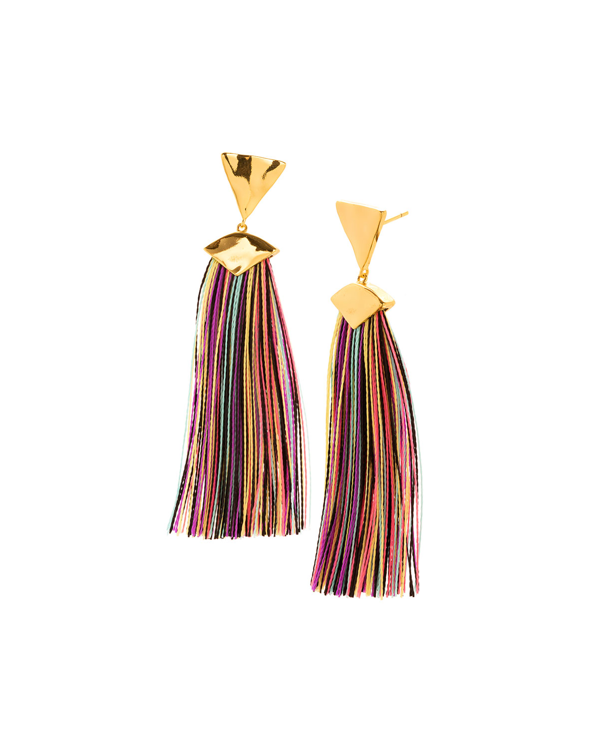 Akola Bone & Raffia Fringe Drop Earrings, Blue