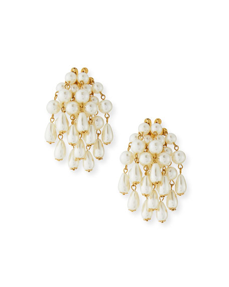 Faux-Pearl Beaded Statement Cluster Earrings