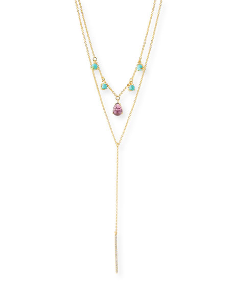 TAI Double Lariat Necklace W/ Stone Dangles in Gold