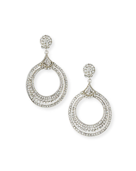 Jose & Maria Barrera Crystal Double Hoop Earrings