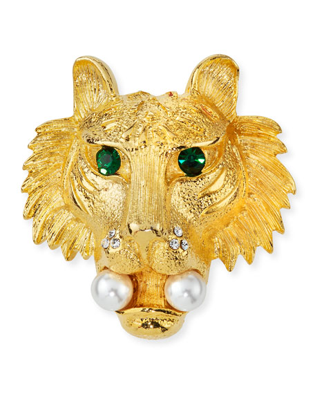 Kenneth Jay Lane Crystal Lion Head Pin