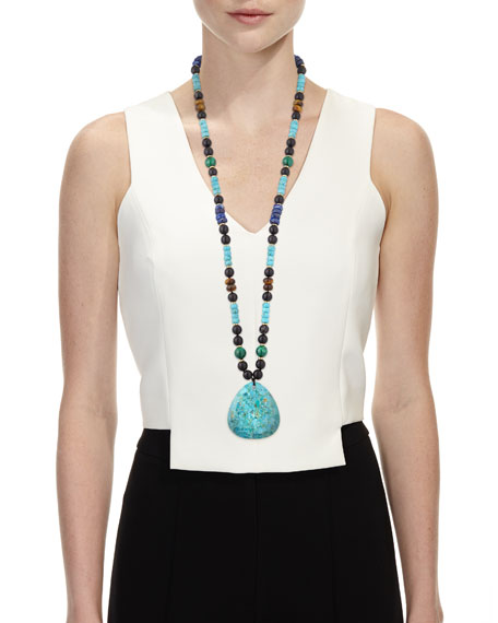 NEST Jewelry Long Beaded Turquoise Pendant Necklace w/ Mixed Stones