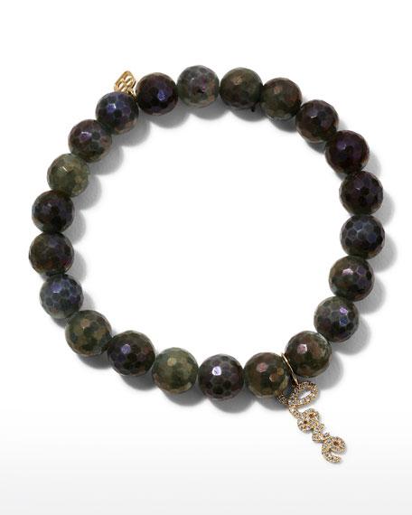 Sydney Evan Coated Labradorite Bead Bracelet w/ Love