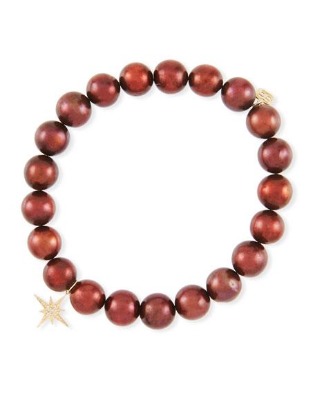 Potato Pearl Bead Bracelet w/ Starburst Charm