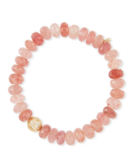 Sydney Evan Cherry Quartz Bead Bracelet w/ Diamond