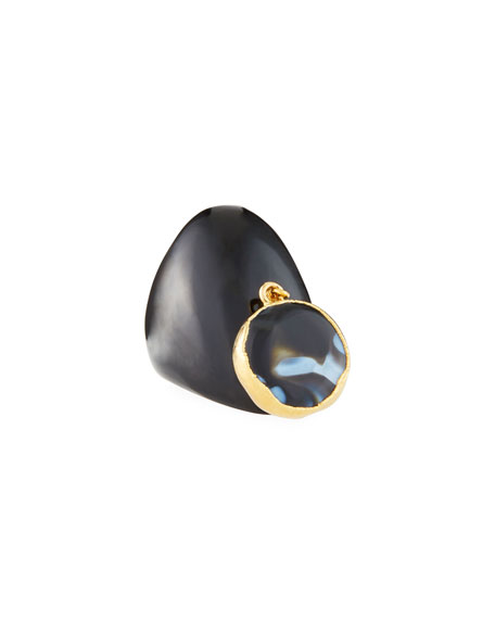 NEST Jewelry Black Horn Ring w/ Agate Charm