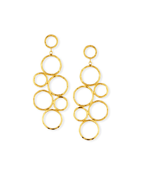 Hammered Gold-Plate Circle Statement Earrings