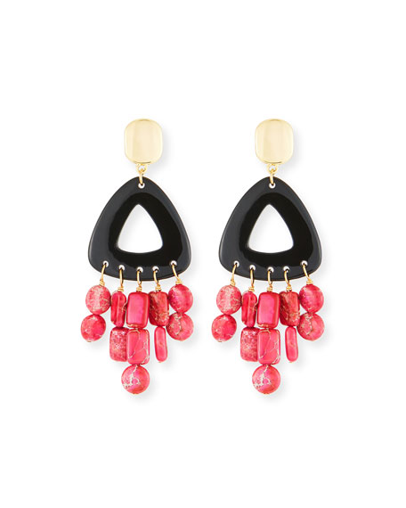Black Horn Statement Dangle Earrings w/ Jasper