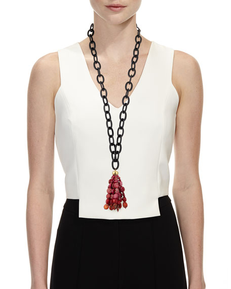 "NEST Jewelry Jasper Tassel Necklace w/ Black Horn, 36"""