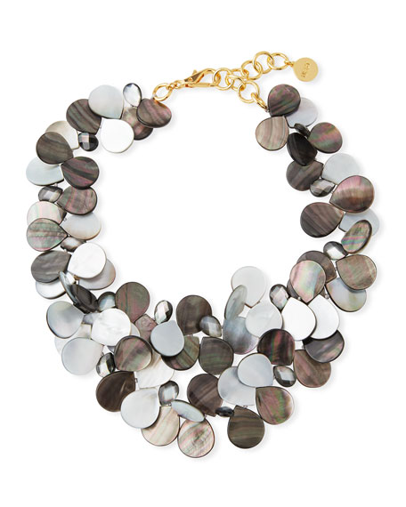 Mother-of-Pearl Cluster Bib Statement Necklace