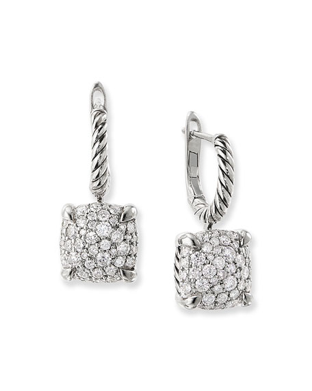 David Yurman Chatelaine Silver Diamond Drop Earrings