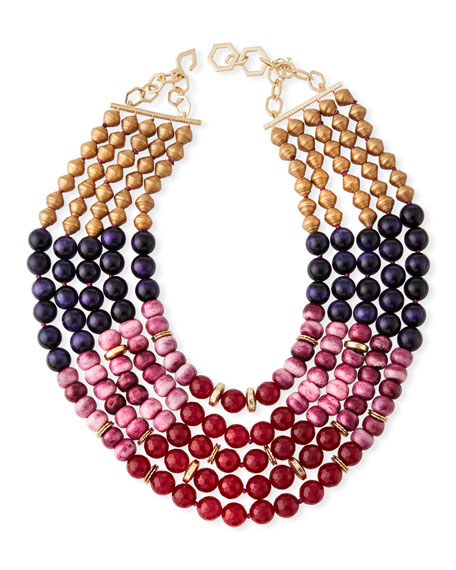 Akola Multilayer Necklace w/ Mixed Beads
