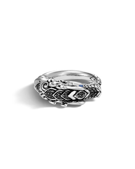 John Hardy Legends Naga Silver Dragon Ring w/ Brushed Finish