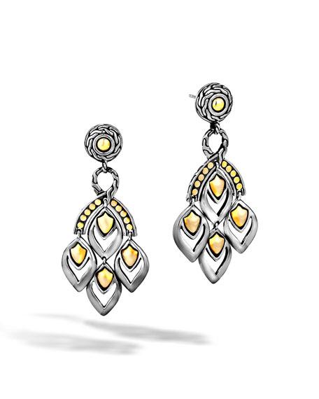 John Hardy Naga Silver Chandelier Earrings w/ 18k Gold