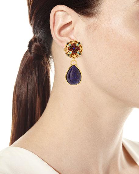 Matrix Glass Teardrop Clip-On Earrings