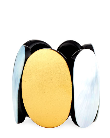Image 1 of 2: Viktoria Hayman Mother-of-Pearl & Foil Stretch Cuff Bracelet