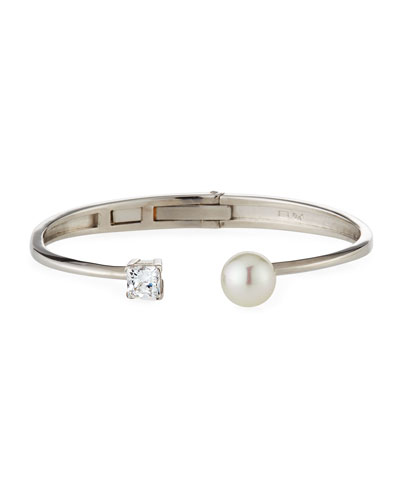 10mm Manmade Pearl & Cubic Zirconia Split Silver Bangle Bracelet