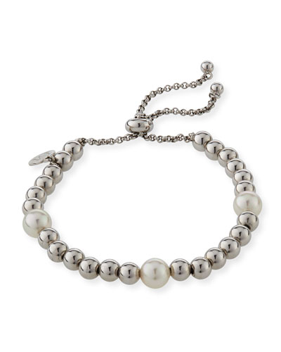 Adjustable Bracelet w/ Beading & Manmade Pearls