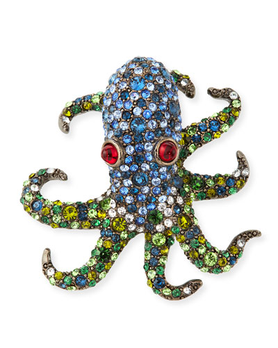 Crystal Octopus Pin