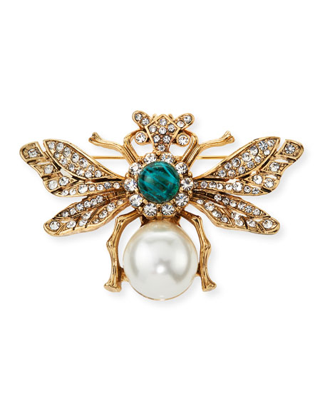 Kenneth Jay Lane Crystal Bee Pin w/ Pearly
