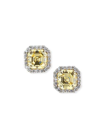 Canary Cubic Zirconia Stud Earrings