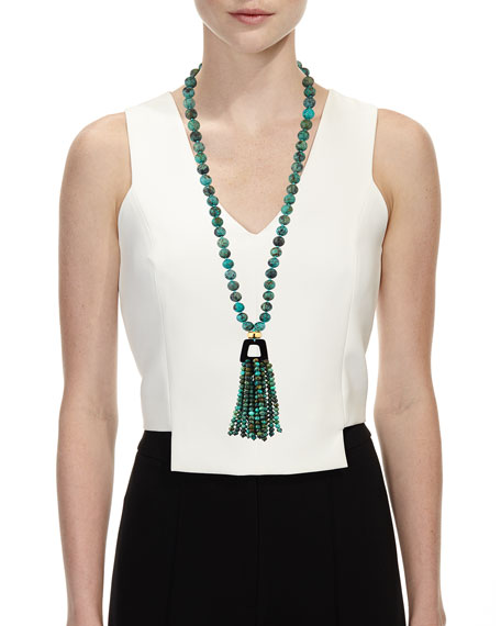 """African Turquoise Tassel Pendant Necklace, 37"""""""