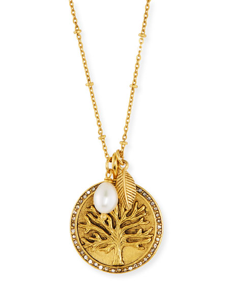 Sequin Tree Talisman Medallion Pendant Necklace