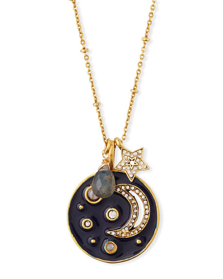 Sequin Enamel Moon Talisman Pendant Necklace