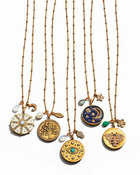 Compass Talisman Pendant Necklace w/ White Enamel