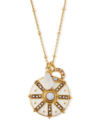 Compass Talisman Pendant Necklace w/ White Enamel