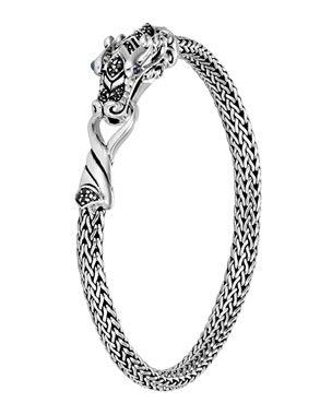 33dd6e2c1ecb John Hardy Legends Naga 5mm Silver Bracelet w  Blue Sapphires